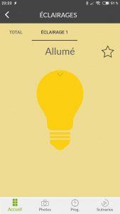 Application Delta Dore : Lumière allumée