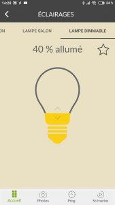 Lumière allumée à 40% avec l'application TYDOM