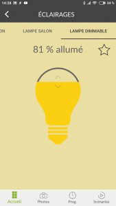Lumière allumée à 80% avec l'application TYDOM